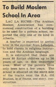 """To Build Moslem School In Area"", Lac La Biche Herald, June 11, 1958"