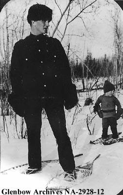 Constable Fred Moses at Lac La Biche with his son, Rod. Circa 1920. Glenbow Archives NA-2928-12