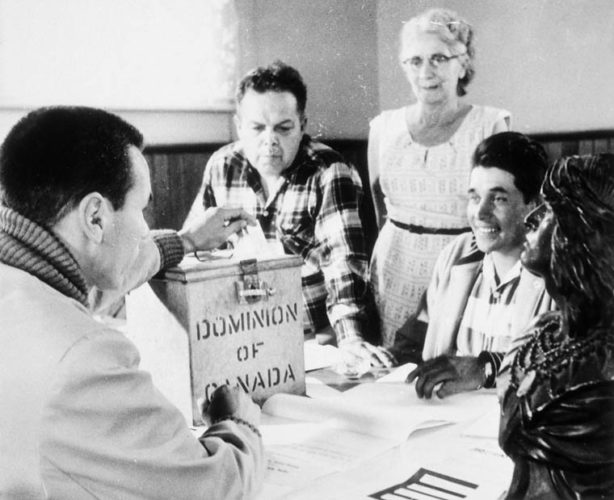 First votes cast since right to vote extended to all status Indians were those of the Rice Lake Band near Peterborough, ON.