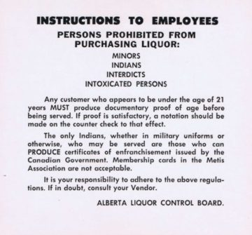 Sign detailing prohibition of First Nations peoples from purchasing liquor