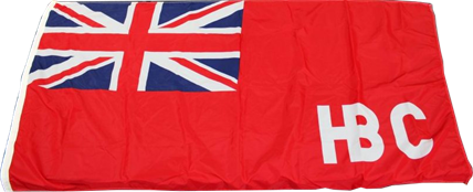 Red Ensign flag with white HBC stitched in bottom right corner